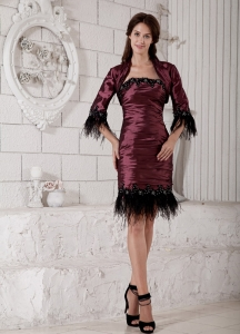Burgundy Feather Mother of the Bride Dress Knee-length