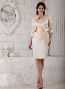 Hand Made Flowers Champagne Mothers Dress Knee-length