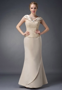 Champagne Lace Beading Mother of the Bride Dress V-neck