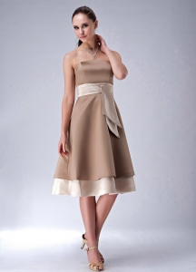 Chocolate Satin Bridesmaid dresses Strapless Tea-length
