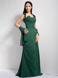 Brush Train Dark Green Chiffon Mother of Bride Dress Ruched