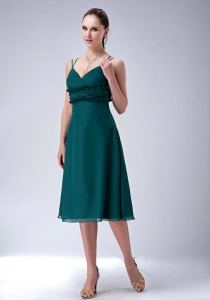 Chiffon Bridesmaid Dresses Dark Green Tea-length Sraps