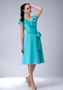 Empire V-neck Baby Blue Short Bridesmaid Dresses Chiffon