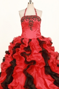 Multi-colored Ruffles Little Girl Pageant Dresses Halter Top