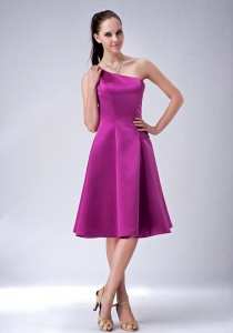 Fushsia Princess One Shoulder Bridesmaid dresses Knee-length