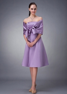 Lavender Strapless Bridesmaid dresses Tea-length Satin