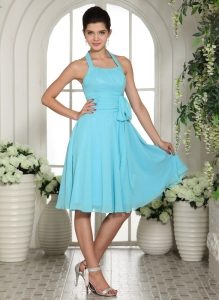 Aqua Blue Halter Sash Chiffon Bridesmaid Dresses