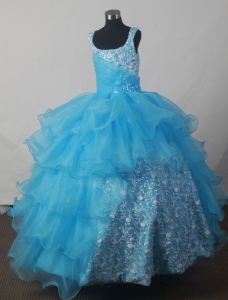 Luxurious Aqua Blue Little Girls Pageant Dress Embroidery
