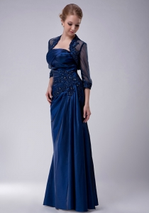 Navy Blue Appliques Ruched Mother of The Bride Dress