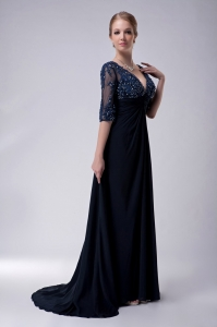 Navy Blue Brush Train Chiffon Appliques Mothers Dress