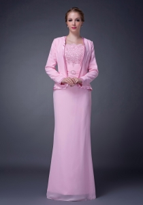 Chiffon Beading Mother Of The Bride Dress Pink Column Straps