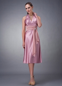 Halter Top Tea-length Satin Pink Bridesmaid dresses