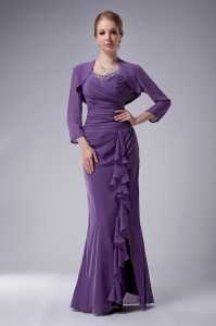 Purple Floor-length Chiffon Mothers Dress with Jacket