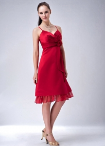 Red Spaghetti Straps Satin and Chiffon Bridesmaid dresses