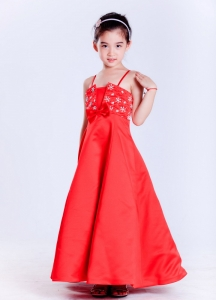 Red Flower Girl Dress with Beautiful Beading 2013