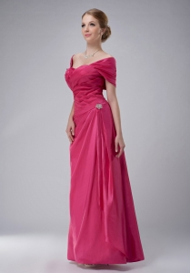 Off the Shoulder Rose Pink Taffeta Mothers Dresses