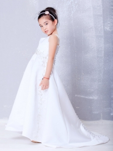 Satin Beading Flower Girl Dress Brush Train Square Neck