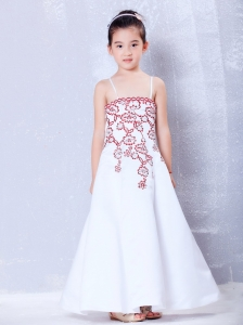 White Ankle-length Embroidery Flower Girl Dress A-line Straps