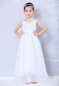 A-line Beading White Flower Girl Dress V-neck Floor-length