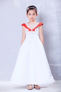 Colorful Flower Girls Dresses Embroidery Ankle-length