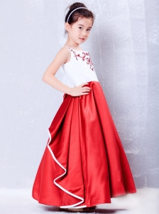 Multi-color Flower Girl Dress Embroidery Ankle-length