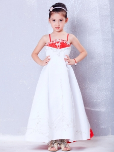 White and Red Straps Embroidery Flower Girl Dress Cute