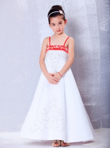 Ankle-length Embroidery Flower Girl Dress White and Red