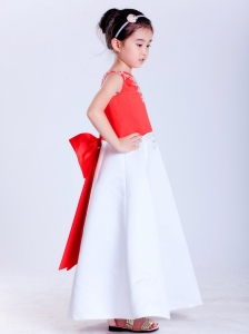 Ankle-length Bowed Flower Girl Dress in White and Blue