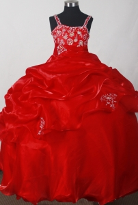 Wine Red Embroidery Pick-ups Little Girl Pageant Dresses