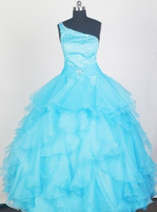Aqua Blue Ruffles Little Girl Pageant Dress Beaded