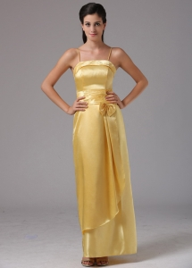 Yellow Column Spagetti Straps Bridesmaid Dresses Bow