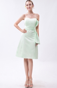 Apple Green Strapless Ruched Bridesmaid Dresses Sashes