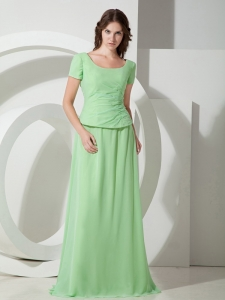 Beading Apple Green Mother Of Bride Dress Scoop Chiffon