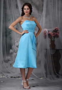 Aqua Blue Tea-length Bridesmaid Dresses Ruched Waistband