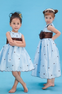 Baby Blue Appliques Little Flower Girl Dress Sash Flower