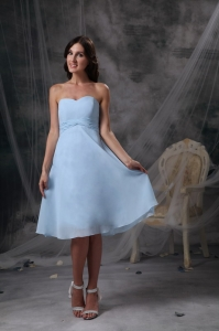 Baby Blue Empire Sweetheart Ruch Bridesmaid Dresses