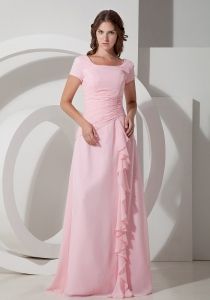 Baby Pink Square Beaded Mother of Bride Dress Chiffon