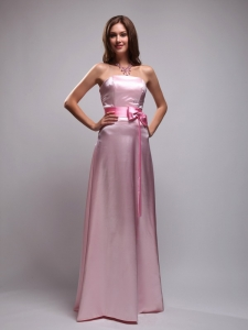 Pretty Baby Pink Bowknot Strapless Bridesmaid Dresses