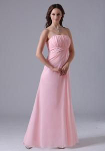 Ruched Baby Pink Bridesmaid dresses with Floor-length