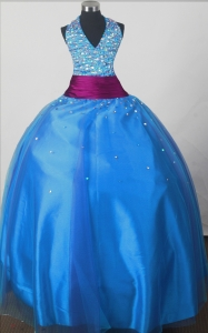 Beaded Decorate Bodice Sweet Ball Gown Little Girl Pageant Dress Halter Top Floor-length