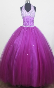 Beaded Halter Purple Pageant Dress for Little Girls