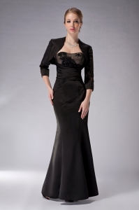 Latest Black Column Strapless Appliques Mothers Dress