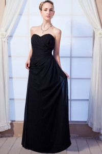 Black Sweetheart Ruched Junior Bridesmaid Dresses Chiffon