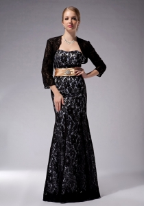 Black Mermaid Strapless Floor-length Lace Mothers Dress