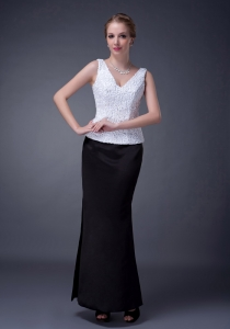 Black and White Mother Of The Groom Dress Lace and Satin