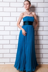 Royal Blue Pleated Bridesmaid Dresses Sash Organza