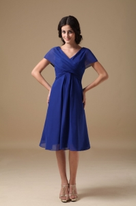 Blue V-neck Knee-length Chiffon Ruch Bridesmaid dresses