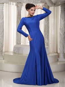 Blue Mermaid Dress for Mother Of The Groom Bateau Brush Train