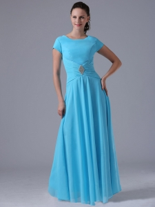 Scoop Neck Beading and Ruch Blue Bridesmaid Dresses