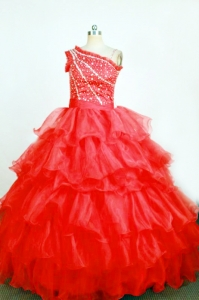 One Shoulder Little Girl Pageant Dresses Glittering Beadings